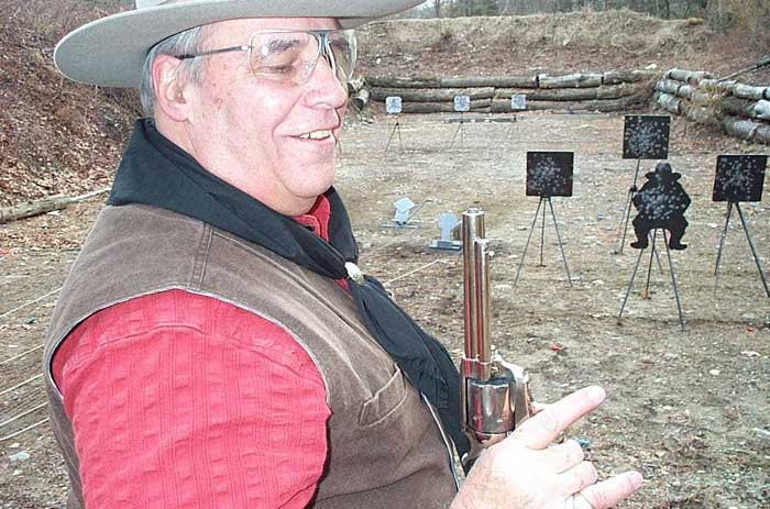 Barrister Bill looking at the .45 Colt bullet that didn't make it out of the barrel.